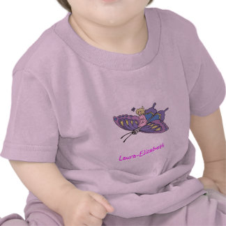 Fairy in Pink Flying on Butterfly Tee Shirts