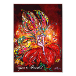 FAIRY IN RED  yellow  green 13 Cm X 18 Cm Invitation Card