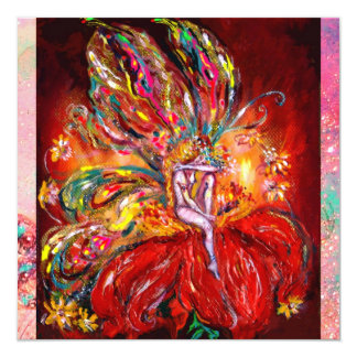 FAIRY IN RED  yellow  green pink 13 Cm X 13 Cm Square Invitation Card