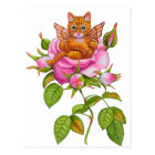 Fairy Kitten Resting in Rose Postcard