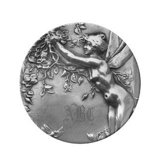 Fairy Lady Monogram Antique Silver Plate Porcelain Plate