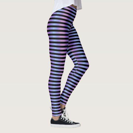 Fairy Lavender Pink Pastel Ombre Gradient Stripe Leggings