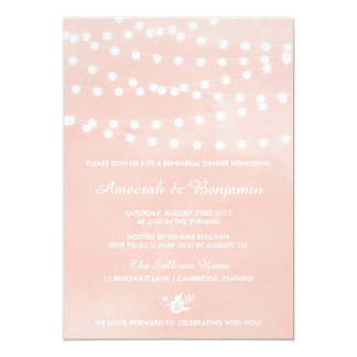 Fairy Lights Blush Rehearsal Dinner Invitation