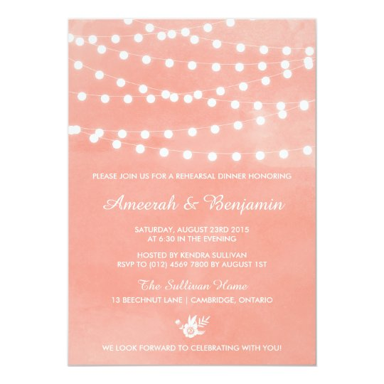 Fairy Lights Coral Rehearsal Dinner Invitation