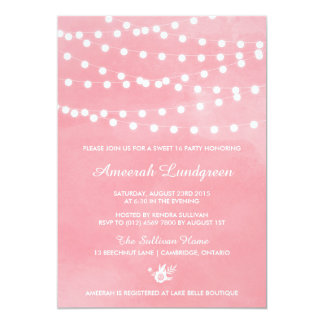 Fairy Lights Pink Sweet Sixteen Party Invitation