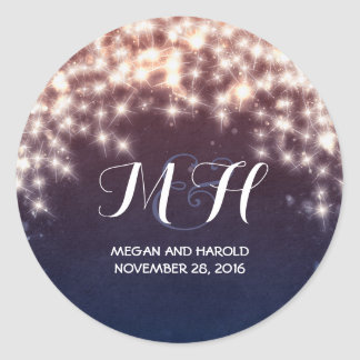 Fairy Lights Rustic Wedding Classic Round Sticker