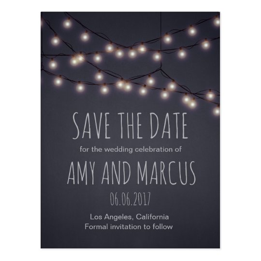 Fairy lights save the date postcard