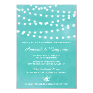 Fairy Lights Teal Rehearsal Dinner Invitation