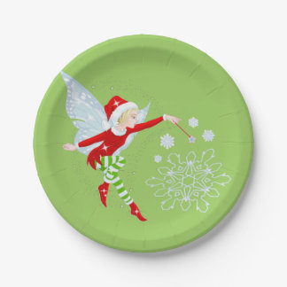 "Fairy Merry Christmas Paper Plates 7"" 7 Inch Paper Plate"