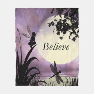 Fairy moon believe fleece blanket