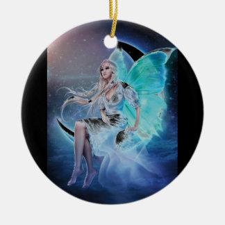 fairy moon round ceramic decoration