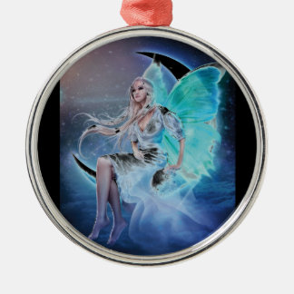fairy moon Silver-Colored round decoration