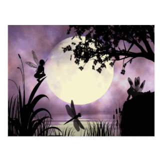 Fairy moonlit pond postcard