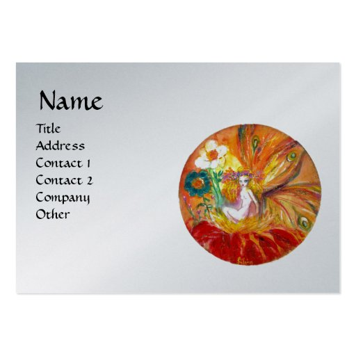 FAIRY OF THE FLOWERS ,platinum metallic red silver Business Cards