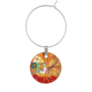 FAIRY OF THE FLOWERS, Red Yellow Wine Charm