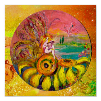 FAIRY OF THE SUNFLOWERS yellow orange pink sparkle Poster