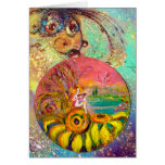 FAIRY OF THE SUNFLOWERS yellow pink blue Greeting Card