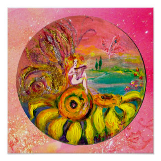 FAIRY OF THE SUNFLOWERS yellow pink sparkles Poster
