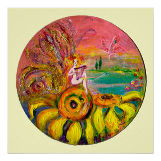 FAIRY OF THE SUNFLOWERS yellow pink white Poster