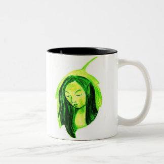 fairy on a green leaf Two-Tone mug