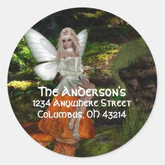 Fairy on a Mushroom Design 2 Address Labels Round Sticker