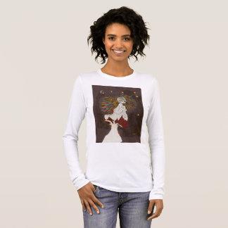 fairy on a mushroom  long sleeved ladies tee shirt