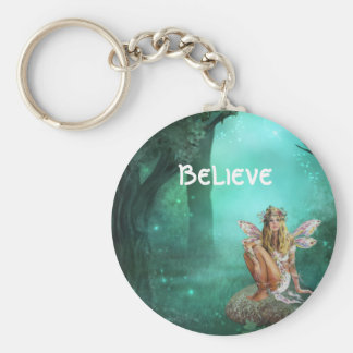 Fairy on a Mushroom Patch - Customizable Keychain