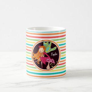 Fairy on Bright Rainbow Stripes Coffee Mugs