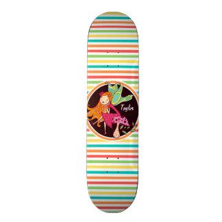 Fairy on Bright Rainbow Stripes Skate Board Deck