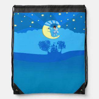 fairy on moon drawstring bag