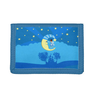 fairy on moon tri-fold wallets