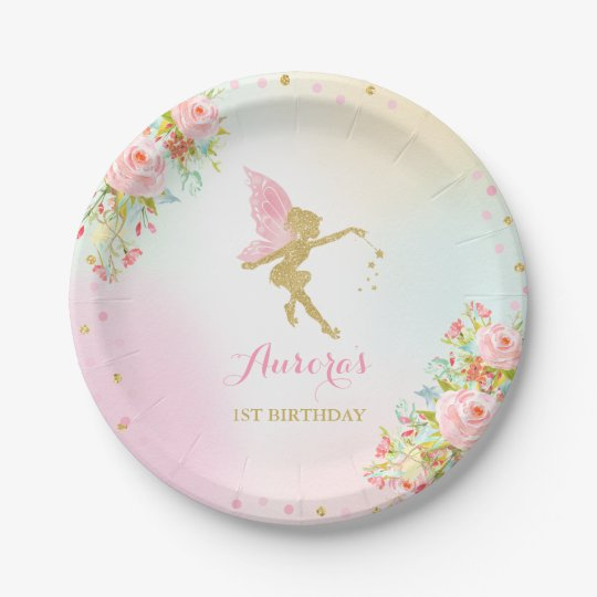 Fairy Pink And Gold Paper Plate 7  Paper Plates  sc 1 st  Zazzle & Fairy Pink And Gold Paper Plate 7