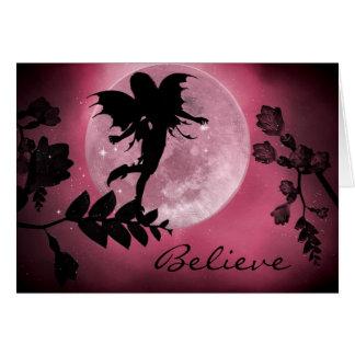 Fairy pink moon glow card