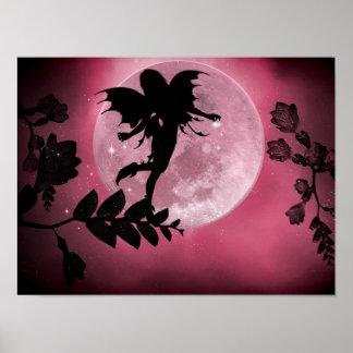 Fairy pink moon glow print