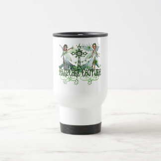 Fairy - Pretty Green Fairies with Celtic Cross Mugs