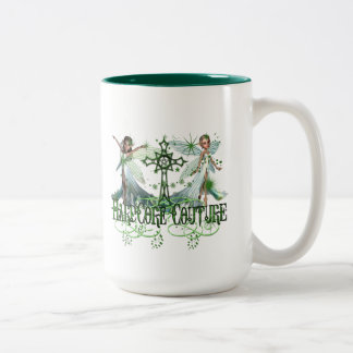 Fairy - Pretty Green Fairies with Celtic Cross Mug