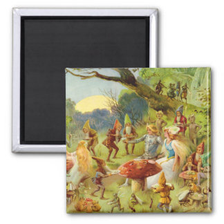 Fairy Prince and Thumbelina in the Magic Forest Square Magnet