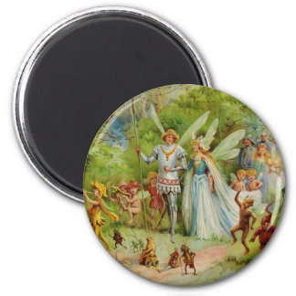 Fairy Prince and Thumbelina in the Magic Wood 6 Cm Round Magnet