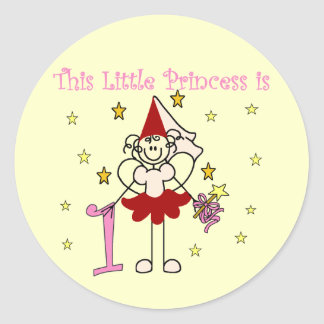 Fairy Princess 1st Birthday Tshirts and Gifts Round Stickers