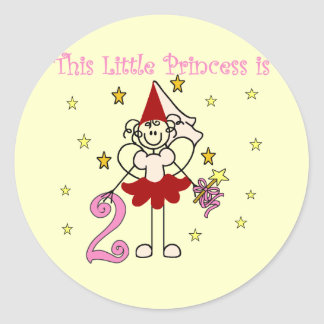 Fairy Princess 2nd Birthday Tshirts and Gifts Round Sticker