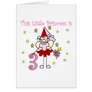 Fairy Princess 3rd Birthday Tshirts and Gifts Greeting Card