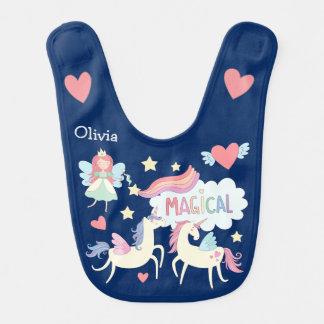 Fairy Princess and Unicorn Personalized Baby Bib