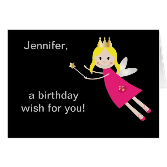 Fairy Princess birthday wishes personalised name Card