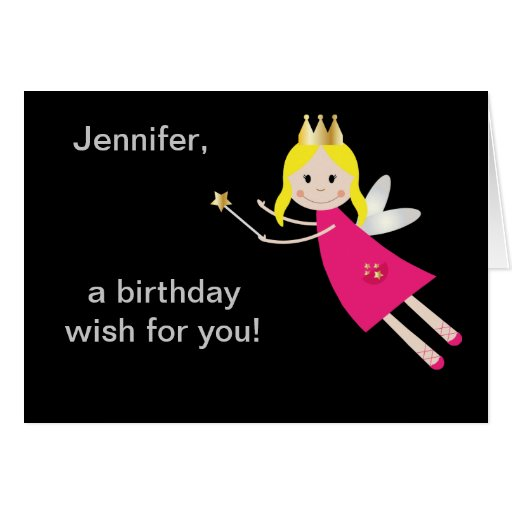 Fairy Princess birthday wishes personalized name Card