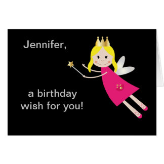 Fairy Princess birthday wishes personalized name Greeting Card