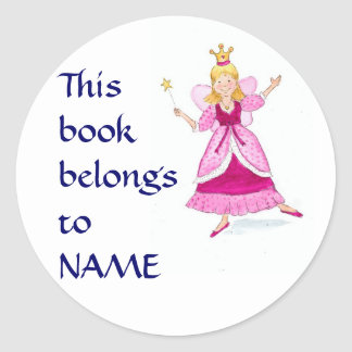 Fairy Princess Bookplates to Personalise Round Sticker