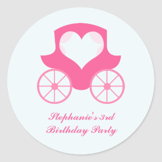 Fairy princess carriage birthday party stickers