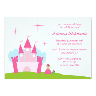 Fairy princess castle birthday party invitation