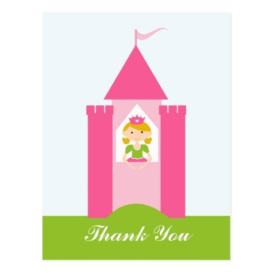 Fairy princess castle thank you postcard