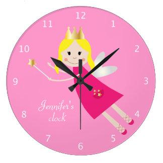 Fairy Princess custom girls name pink Large Clock